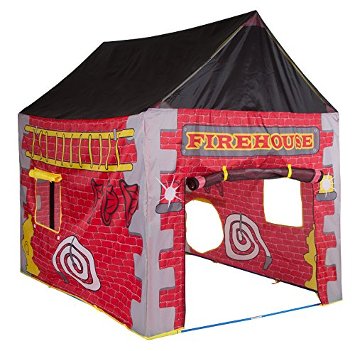 "Pacific Play Tents Kids Firehouse House Tent Playhouse for Indoor / Outdoor Fun - 58"" x 48"" x 58"""