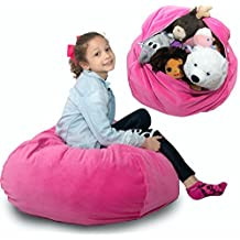 """LARGE Stuffed Animal Storage Bean Bag - """"SOFT 'n SNUGGLY"""" Corduroy Fabric Kids Prefer Over Canvas - Replace Mesh Toy Hammock or Net - Better than Space Saver Bags to Store Blankets/Pillows Too"""