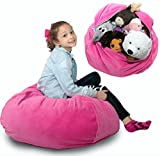 Stuffed Animal Storage Bean Bag [Large] Super Soft Corduroy Fabric Kids Prefer Over Harsh Canvas - Better Storage Solution Than Mesh Toy Hammock or Net - Store Blankets & Pillows Too