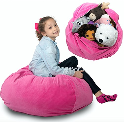 "LARGE Stuffed Animal Storage Bean Bag - ""SOFT 'n SNUGGLY"" Corduroy Fabric Kids Prefer Over Canvas - Replace Mesh Toy Hammock or Net - Better than Space Saver Bags to - Stuffable Animal"