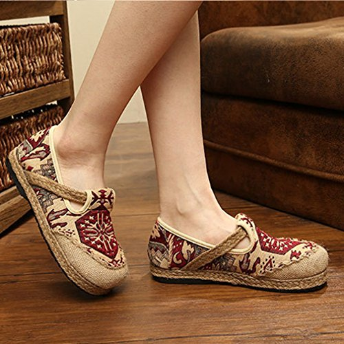 Giy Dames Retro Loafers Plat Mocassin Canvas Exotisch Slip-on Ronde Neus Linnen Strape Casual Oxfords Schoenen Rood