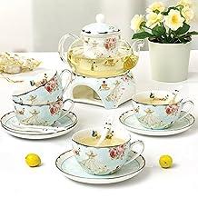 21 oz 600ml Glass tea maker teapot with a Porcelain warmer & 4 set of Porcelain Cup & Saucer & Spoon European style design