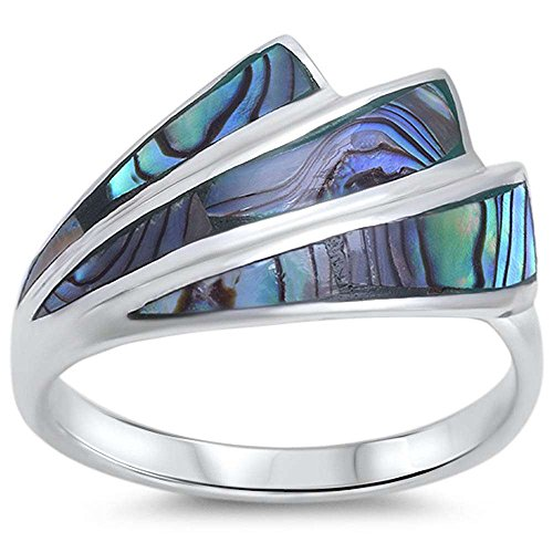 Diamond Shell Ring - New Abalone Shell Design .925 Sterling Silver Ring Sizes 5-10 (10)