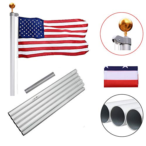 - Heavty 20FT Sectional Flag Pole Kit, Heavy Duty Aluminum American Flagpole with 3'x5' Polyester US Flags & Gold Ball Top for Outdoor Garden Residential or Commercial, Silver