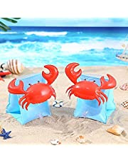 Inflatable Armbands for Kids (Aged 3-6), Pool Arm Floatie Sleeves Floater Tube Water Wings Swimming Armlets Crabby Blue Inflatable Children Armband Pool Float Outdoor Swimming Pool