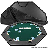 Trademark Global 51 X 51 Inch Octagon Padded Poker Tabletop GreenPoker Layout, Green
