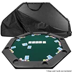This brand new style of folding poker table has a segmented center which allows for smother action during play. The 51 inch by 51 green inch surface is lined with a supple arm rest that includes built in cup holders for each of the eight peop...