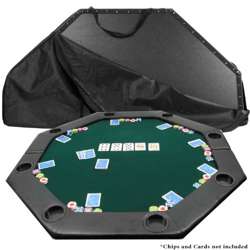 - 51 X 51 Inch Octagon Padded Poker Tabletop GreenPoker Layout, Green