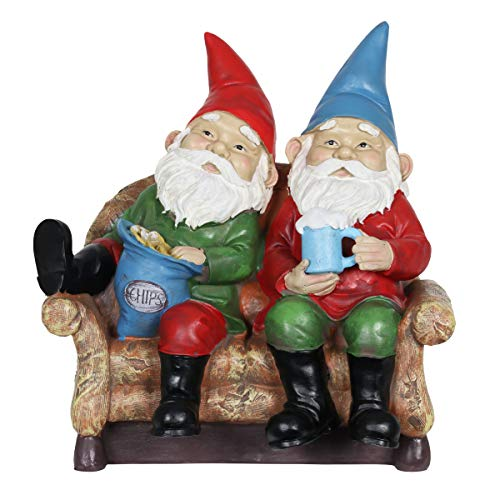 Exhart Solar Good Time Lazy Couch Potatoe Gnomes - Solar Outdoor Statues of Funny Gnomes Eating Chips & Drinking Beer w/Solar LED Accent Lights -Garden Gnomes, Solar Statues, Colorful Yard Decor,10in