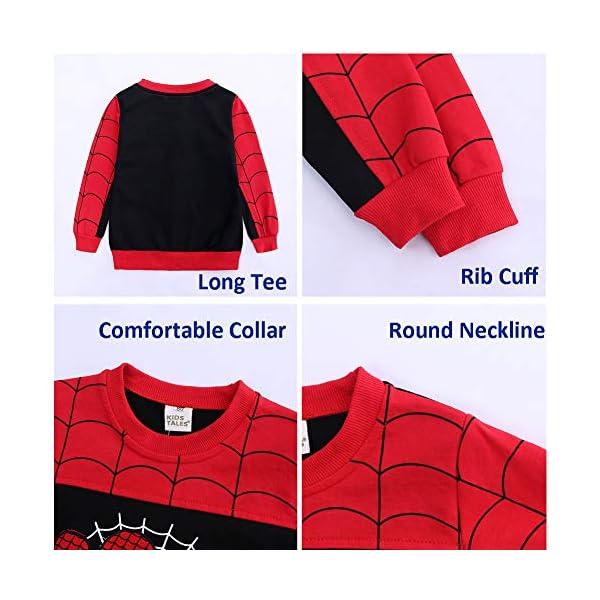 Set di Abbigliamento Bambini Completino Spiderman Maniche Lunghe Tute Ragazze Felpa con Cappuccio Camicie e Pantaloni… 5