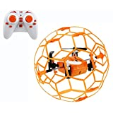 Haktoys HAK901 Mini R/C Drone in a Ball Shape | Protective Frame Cage 2.4GHz 4 CH 3D Flip/Roll LED RC Quadcopter with 6 Axis Gyroscope and Slow-Fast Speed Modes | Great for Beginners, Kids and Adults