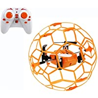 Haktoys HAK901 Mini R/C Drone in a Ball Shape | Protective Frame Cage 2.4GHz 4 CH 3D Flip/Roll LED RC Quadcopter with 6 Axis Gyroscope and Slow-Fast Speed Modes | Great for Beginners, Kids & Adults