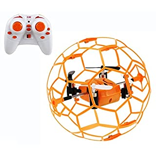 Haktoys HAK901 Mini R/C Drone in a Ball Shape | Protective Frame Cage 2.4GHz 4 CH 3D Flip/Roll LED RC Quadcopter with 6 Axis Gyroscope and Slow-Fast Speed Modes