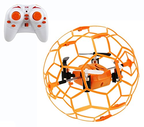 Haktoys HAK901 Mini R/C Drone in a Ball Shape | Protective Frame Cage 2.4GHz 4 CH 3D Flip/Roll LED RC Quadcopter with 6 Axis Gyroscope and Slow-Fast Speed Modes | Great for Beginners, Kids and Adults by Haktoys