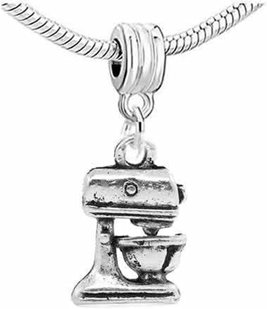 Sexy Sparkles Kitchen Food Mixer Dangle Spacer Charm Bead for Snake Chain Charm Bracelet