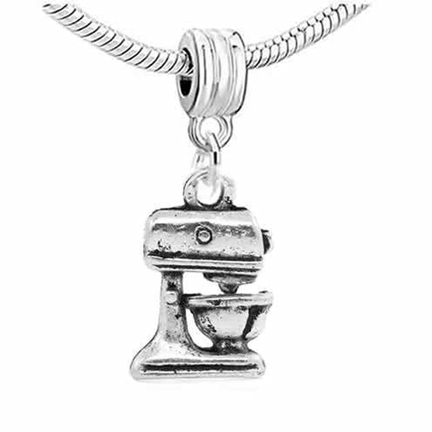 """ Kitchen Food Mixer ""Dangle Spacer Charm Bead For Snake Chain Charm Bracelet"