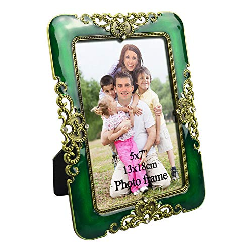PETAFLOP 5x7 Picture Frames Vintage Jade Green Photo Frame, Tabletop Horizontally or Vertically