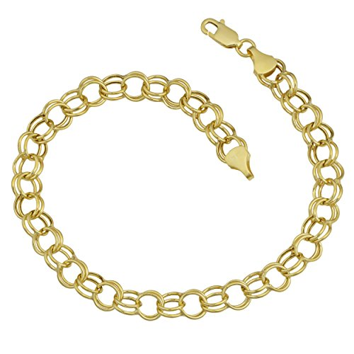 Kooljewelry 14k Yellow Gold 6.6 mm Round Link Charm Bracelet (8 inch)