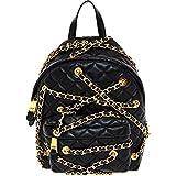Womens Moschino Black Leather Mini Chain Backpack (Moschino)
