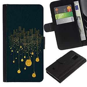 Planetar® Modelo colorido cuero carpeta tirón caso cubierta piel Holster Funda protección Para Samsung Galaxy S5 Mini / SM-G800 (Not For S5!!!) ( Lights Idea Blue Symbolism Deep )