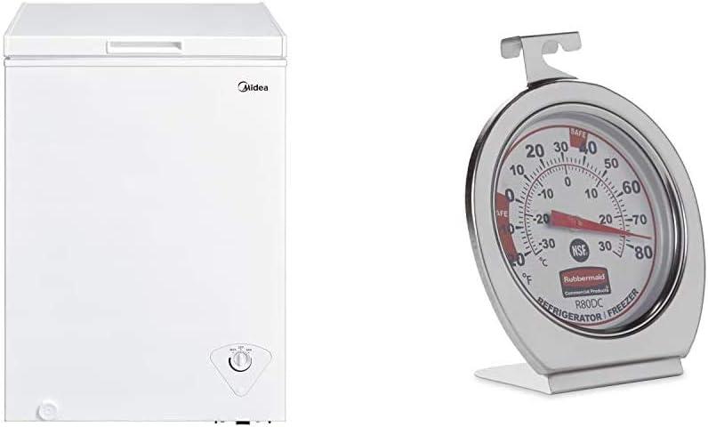 Midea MRC04M3AWW Single Door Chest Freezer, 3.5 Cubic Feet, White & Rubbermaid Refrigerator/Freezer Thermometer