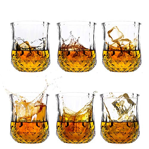 Whiskey Glasses set of 6 PERSTON, Lead-Free Luxury Liquor Tumblers, Rum Vodka Glassware Gift Set for Scotch, Bourbon, Old Fashioned Cocktail Enthusiasts ()