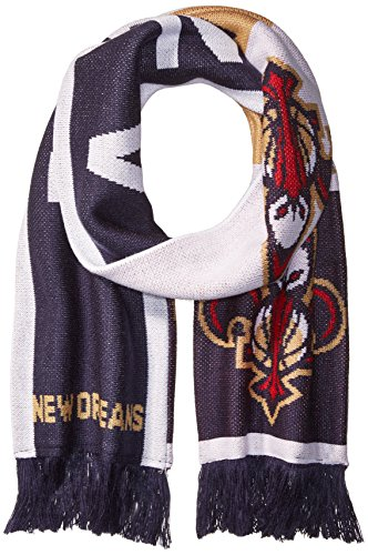 fan products of NBA New Orleans Pelicans Unisex Repeating Logo Scarf, Navy, One Size