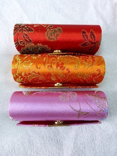 (Rstar Random Assorted Colors--Lipstick Case 3pcs Set Lipstick Case w/Mirror,Satin Silky Fabric With Floral Prints Assorted 3.5