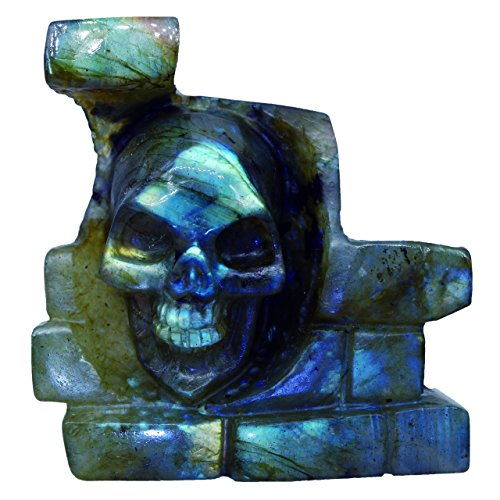 NATURSTON Gemstone's Carving Gothic Skull Statue Natural Labradorite Mens Biker Halloween Sculpture Artwork (Green-2.5