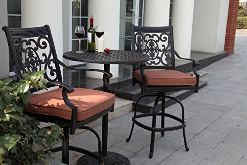 Darlee St. Cruz 3-Piece Counter Height Bar Set with Seat Cushions and 30-Inch Pedestal Counter Height Bar Table, Antique Bronze Finish (Bar Height Patio Umbrella)