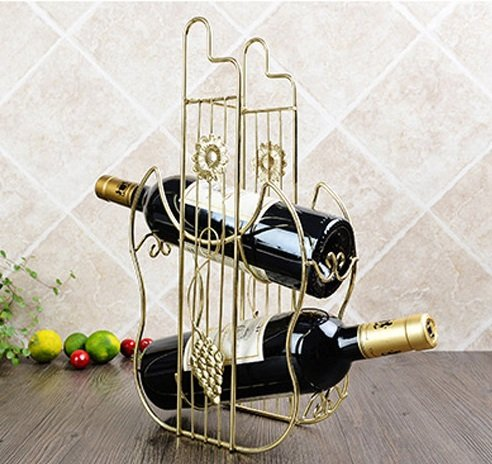 Golden Wine Holders Rack Creative Cabinet Decorations Botellas Hanging Bar European by Bar Cabinets