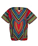 Lofbaz Traditional African Print Unisex Dashiki Size XXXXXL Heart Red