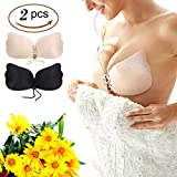 Baabyoo Pushup Bra 2 Pack Self-Adhesive Bra Strapless Invisible Backless Plunge Bra
