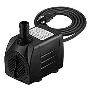 VicTsing 400 GPH Submersible Pump, Water Pumps For Fish Aquarium, Fountains, Spout and Hydroponic Systems(25W, 5.9ft Power Cord, Two Nozzles)