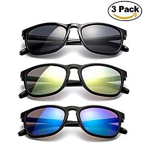 Newbee Fashion - Kyra Kids Sunglasses Keyhole Design Flash/Revo Lens Comfortable Sunglasses for Boys UV Protection Keyhole Fashion Props Photography