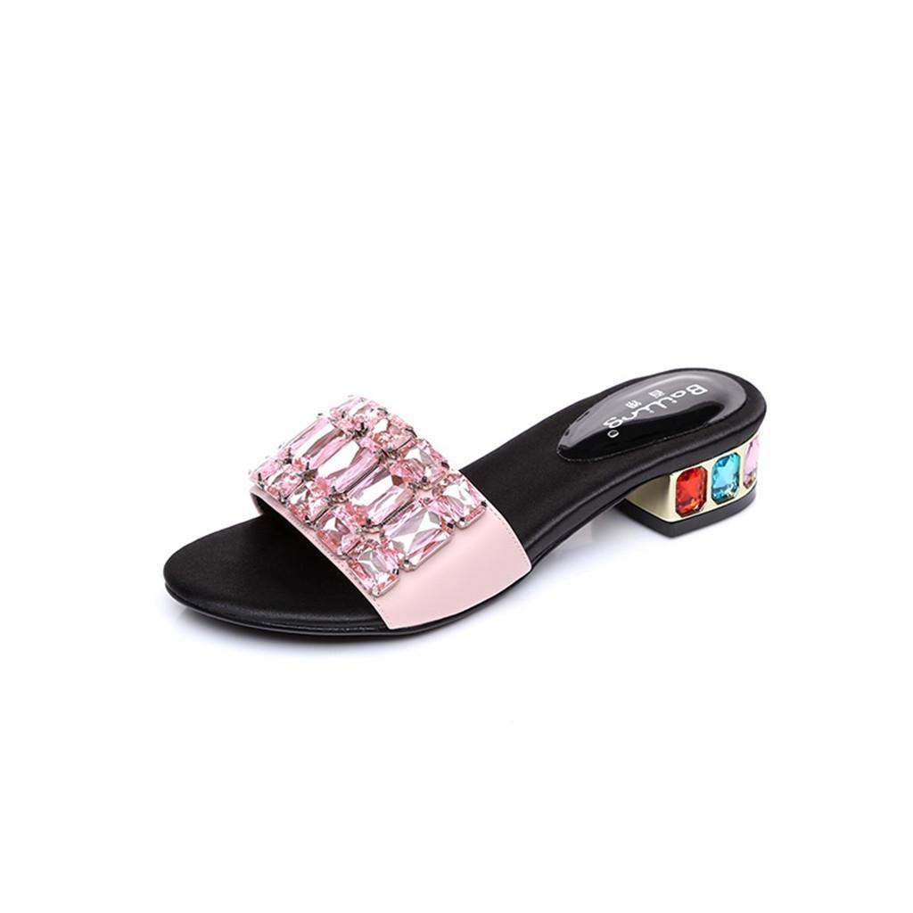 BaiLing delle Pantofole estive delle BaiLing donne/Mid Heel Open toe/Rhinestones scarpe sandali femminili di piccole dimensioni, Pink, CN35 - 8b7e6e