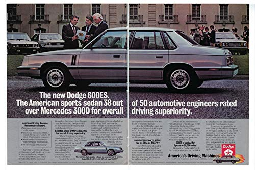 1983 Vintage Two Page Ad for Dodge 600 ES | American Sports Sedan