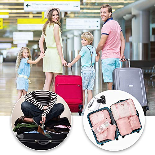 Packing Cubes 7 Set Lightweight Travel Luggage Organizers with Laundry Bag or Toiletry Bag (PINK)
