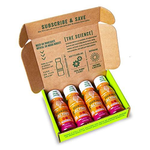 BrainJuice Active Shot, Pomegranate Acai | Liquid Nutrition Drink Supplement for Improved Energy, Motivation, Focus, Performance, Gluten-Free, Non-GMO | Starter Trial Pack, 2.5 fl oz, 4 Count
