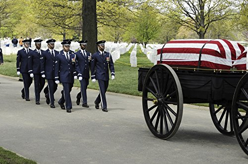 - Posterazzi A United States Air Force Guard Body Bearer Team marches Behind a Caisson During a Full-Honors Funeral Ceremony at Arlington National Cemetery. Poster Print, (34 x 22)