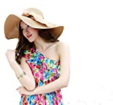 SUKO Women's Big Bowknot Straw Hat Wide Brim Cap Floppy Foldable Beach Straw Hats Sun Hat UPF 50+