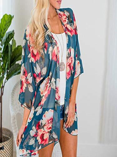 Chiffon Cardigan, Flower Print Open Front Shawl Kimono Coat Jackets Cover up Blouse Tops(Green,S) by yijiamaoyiyouxia Blouse (Image #3)