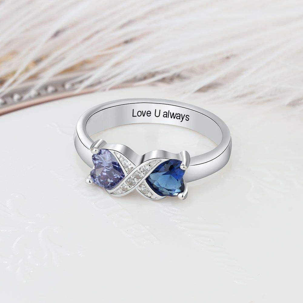 Tian Zhi Jiao Customized 2 Heart Simulated Birthstone Mothers Ring Engraved 2 Names Personalized Promise Ring for Women (8)
