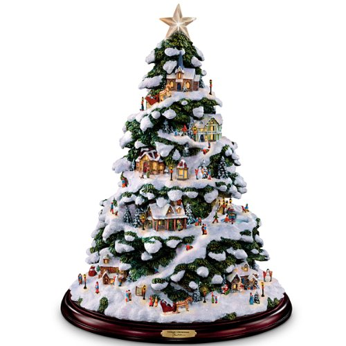 Thomas Kinkade Village Christmas Artificial Tabletop Chri...