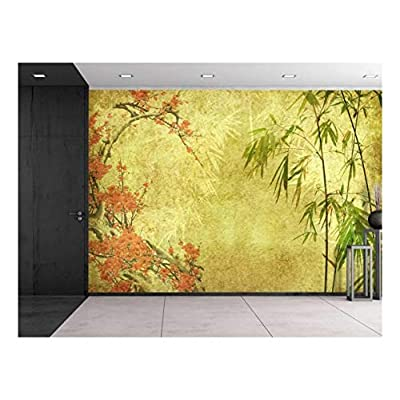 Made With Love, Grand Piece, Japanese Garden Plants Over a Gold Textured Background Wall Mural