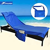 Beach Chair Cover - Chaise Lounge Chair Towel for Pool - Sun Lounger - Hotel - Vacation with Free Inflatable Pillow and Side Pockets by Youlerbu (Blue)