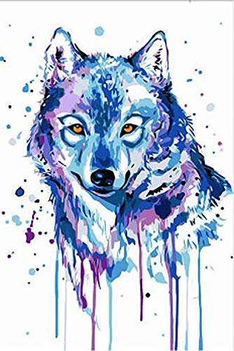Liliya&& DIY Tinte, die digitales Aquarelltinte Abstraktes Blaues großzügiges Kreatives Kein Rahmen zeichnet, Ink wolf-5473, 50  75cm+ Braun Frame