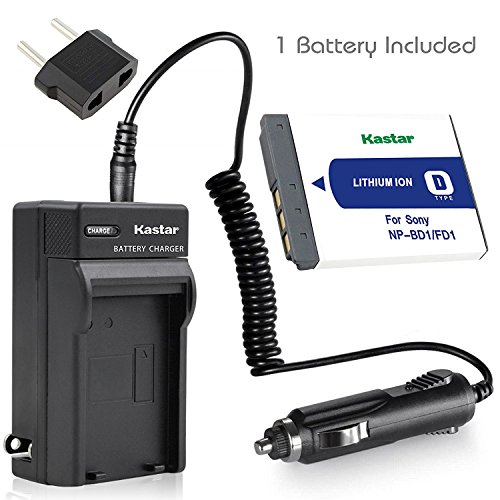 Kastar Battery 1 Pack and Charger for Sony NP-BD1 NP-FD1 and Sony DSC-G3 DSC-T2 DSC-T70 DSC-T75 DSC-T77 DSC-T90 DSC-T200 DSC-T300 DSC-T500 DSC-T700 DSC-T900 DSC-TX1 Camera