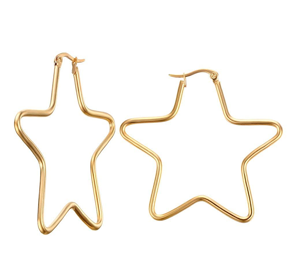 1e7bc66cf Amazon.com: Vnox Womens Girls Stainless Steel Simple Big Star Shape Hoop  Earrings, Gold Plated, Clip-top: Jewelry