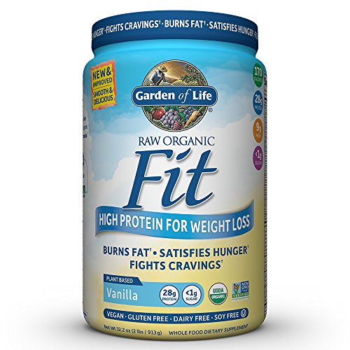 Garden of Life Organic Meal Replacement - Raw Organic Fit Powder, Vanilla - High Protein for Weight Loss (28g) Plus Fiber, Probiotics & Svetol, Organic & Non-GMO Vegan Nutritional Shake, 20 Servings